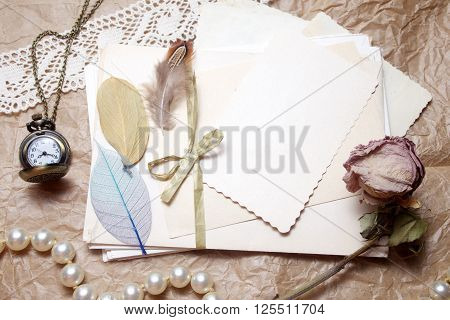 Old accessories and post cards. sentimental vintage background ** Note: Soft Focus at 100%, best at smaller sizes