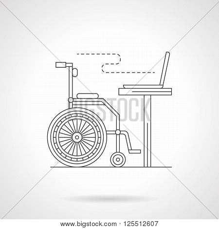 Wheelchair and work table with computer. Distance education for disabilities. Learning and job in home office. Detailed flat line vector icon. Web design elements for business, site, mobile app.