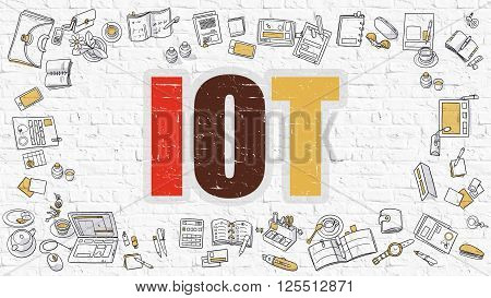 IOT - Internet of Things. Multicolor Inscription on White Brick Wall with Doodle Icons Around. Modern Style Illustration with Doodle Design Icons. IOT on White Brickwall Background.