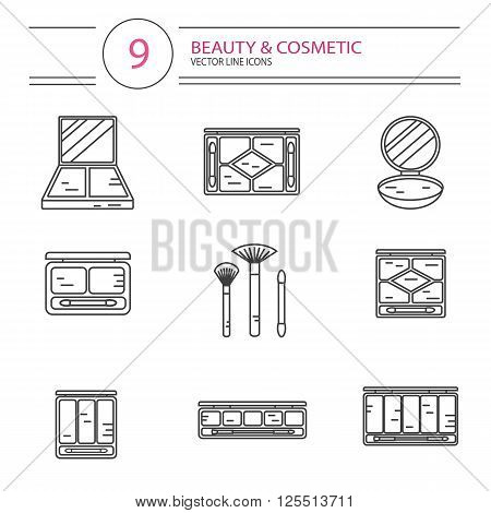 Vector modern line style icons set of beauty, makeup and cosmetics products. Different types of shadow pallette, compact powder, blush or concealer with brushes. Isolated on white background.