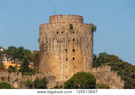 Rumelihisar also known as Rumelian Castle and Roumeli Hissar Castle. Watchtower of stone fortress at the Bosporus straight. Istanbul Turkey