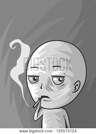 Illustration of a Man Smoking a Cigarette