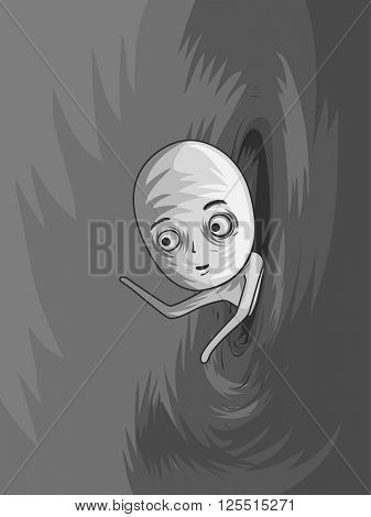 Illustration of a Man Entering Another Dimension Through a Portal
