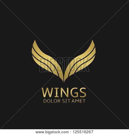 Golden Wings logo. Angel eagle fly symbol