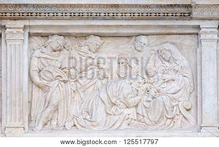 BOLOGNA, ITALY - JUNE 04: Nativity Scene, Adoration of the Magi, relief on portal of Saint Petronius Basilica in Bologna, Italy, on June 04, 2015