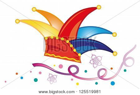 Colorful carnival decoration, dunce cap with streamer and confetti.