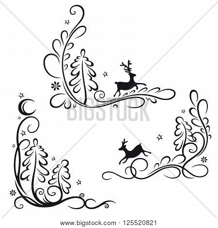 Deer in the night forest , abstract vector set.