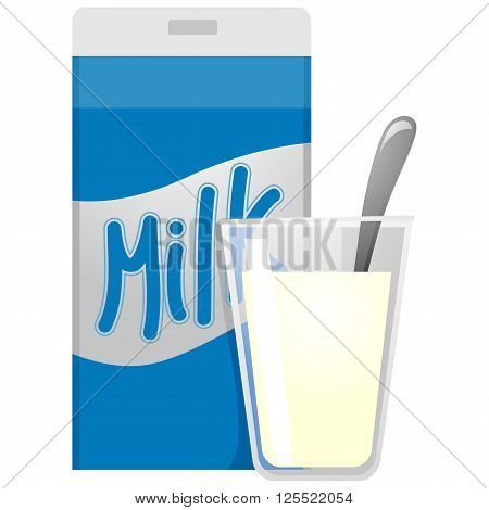 Vector Illustration of Milk Carton and Glass of Milk