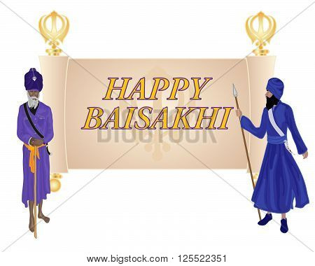 an illustration of a baisakhi greeting card for the sikh religious festival with an old parchment and two khalsa sikhs on a white background