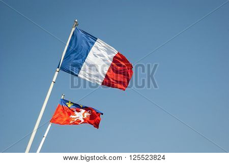 Vawing Flag Of France And Lyon City