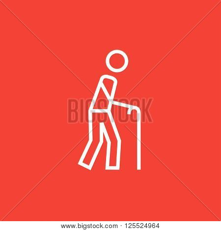 Man with cane line icon.