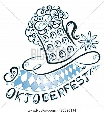 Oktoberfest decoration, pretzel, lettering edelweiss and beer.