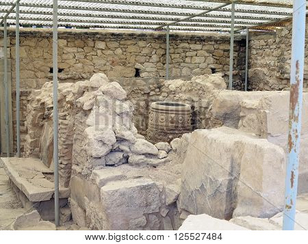 Crete Greece. 19 iune 2015.  Archaeologist excavating on ancient ruins of Knossos palace.