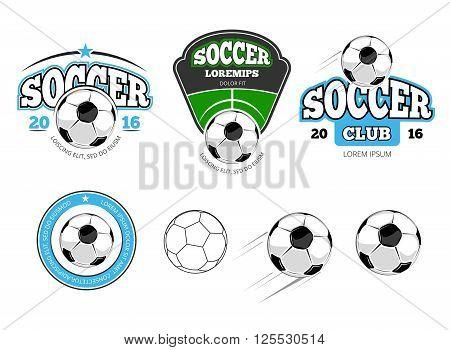 European football, soccer vector labels, emblems, logos and badges. Sport soccer, ball for football soccer, team soccer, game football, play football illustration