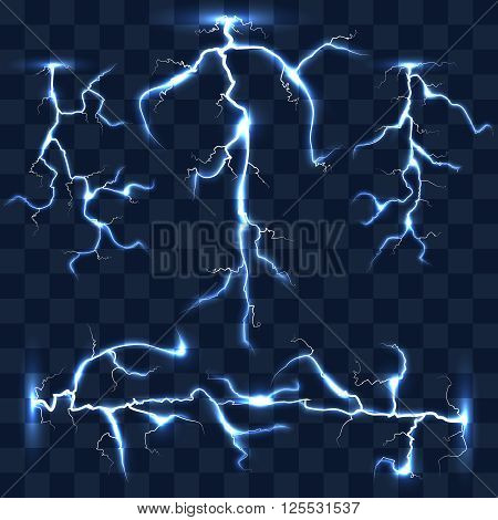 Realistic vector lightnings set on checkered background. Bright lightning, electric lightning, effect lightning energy illustration