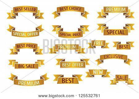 Gold premium sales vector banners set. Golden flag ribbon banner and gold banner sale ribbon, sale banner illustration