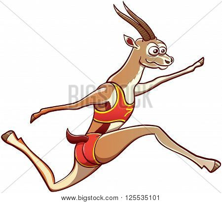 Athletic gazelle smiling and wearing red uniform while making a big effort to perform a long jump by fully stretching its legs with great ease and elegance