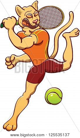 Athletic puma wearing orange shirt and brown shorts while making a big effort to perform a powerful smash while playing tennis