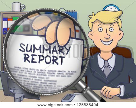 Businessman in Suit Holding Paper with text Summary Report through Lens. Closeup View. Colored Doodle Style Illustration.