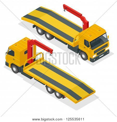 Tow truck isometric vector. Car towing truck 3d flat illustration. Tow truck for transportation faults and emergency cars isometric illustration. City transport