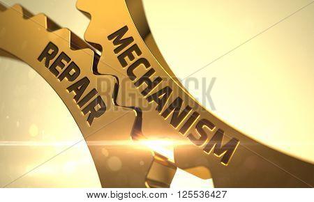 Golden Cogwheels with Mechanism Repair Concept. Mechanism Repair on Mechanism of Golden Cogwheels. Mechanism Repair - Illustration with Glowing Light Effect. Mechanism Repair - Concept. 3D Rendering.