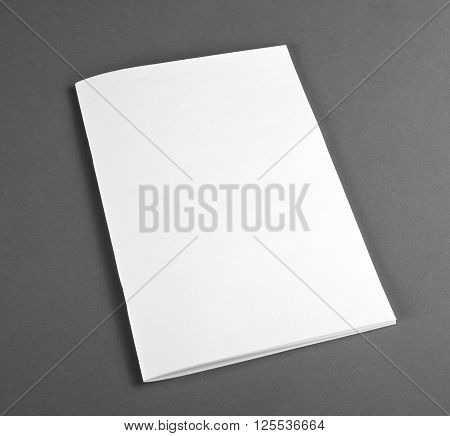 Blank catalog brochure magazines book mock up. Blank closed magazine on grey background.
