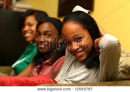 Three Cute Teenage Sisters Together