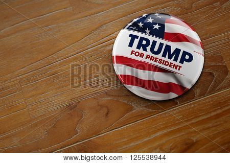 WASHINGTON, DC - APRIL 10, 2016: Illustration of presidential campaign button of Donald Trump running for the president's office.