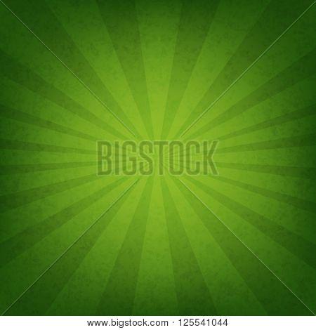 Green Sunburst Wallpaper With Gradient Mesh, Vector Illustration
