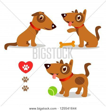Dogs Funny And Sad. Cartoon Vector Set Illustrations On A White Background. Dogs Funny Faces. Dogs Funny Memes. Dogs Funny Moments. Dogs Funny Talking. Playful Dog Pose. Playful Dog For Kids.