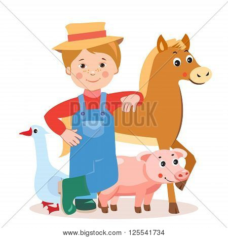 Young Farmer With Farm Animals: Horse Pig Goose. Cartoon Vector Illustration On A White Background. Farm Animals For Sale. Farm Animals Toys. Farm Animals For Kids. Farm Animals Coloring.
