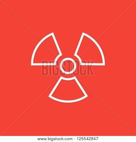 Ionizing radiation sign line icon.