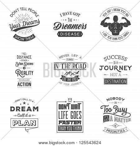Set of vintage motivation typographic quotes. Vintage typography set, vintage typography design, vintage typography art, vintage typography label, vintage typography icon, vintage typography print for t-shirt, retro typography. Grunge effect can be edited