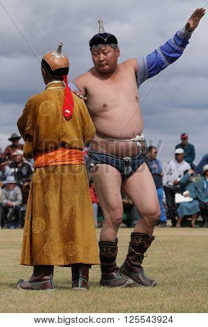 Kharkhorin, Mongolia, July, 8 - Mongolian Wrestling During Naadam Midsummer Festival, On July 8, 201