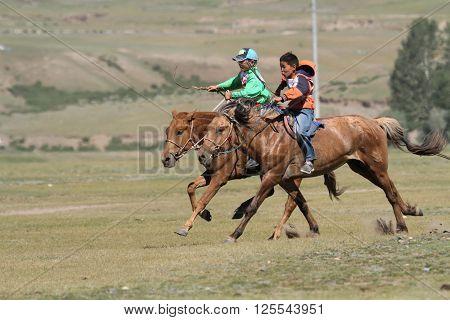 Kharkhorin, Mongolia, July, 8 - Horse Racing During Naadam Midsummer Festival, On July 8, 2013 In Kh