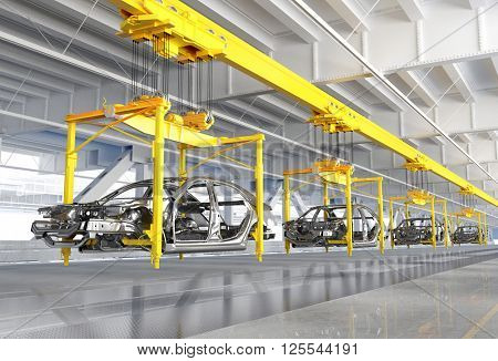 The conveyor for assembly of cars.3d render