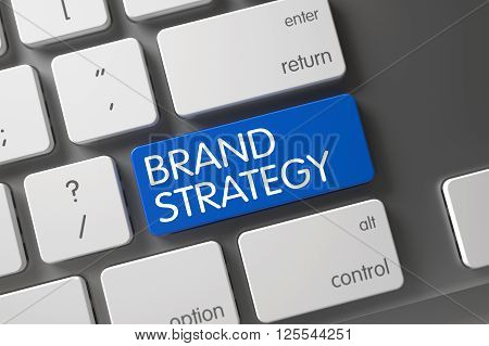 Key Brand Strategy on Slim Aluminum Keyboard. Brand Strategy Button. Laptop Keyboard with the words Brand Strategy on Blue Button. Brand Strategy CloseUp of Modern Keyboard on Laptop. 3D Illustration.