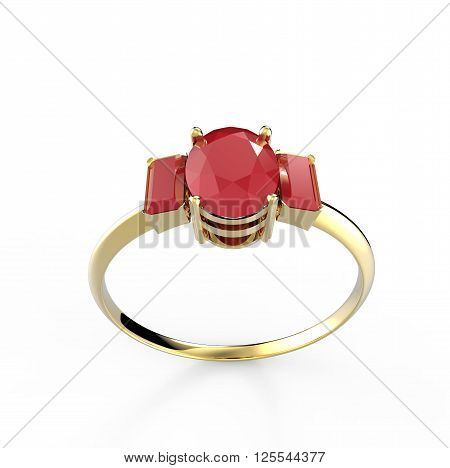 Wedding ring with diamond isolated on white background. Fashion jewelery. 3d digitally rendered illustration