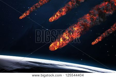 Meteor shower. Elements of this image furnished by NASA ** Note: Visible grain at 100%, best at smaller sizes
