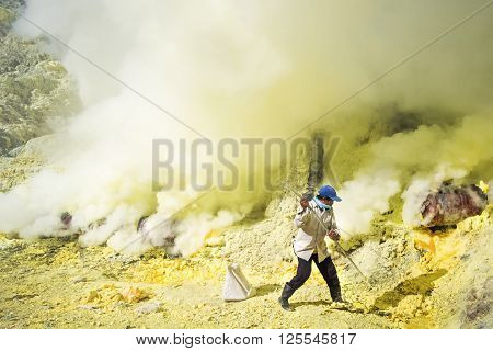 Kawah Ijen Volcano, East Java, Indonesia - May 25, 2013: Sulfur miner collecting sulfur inside the crater of Kawah Ijen volcano in East Java, Indonesia.