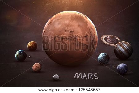 Mars - High resolution images presents planets of the solar system on chalkboard. This image elements furnished by NASA