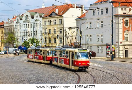 Prague, Czech Republic  - May 2, 2014: Tatra T3 trams at Pohorelec stop in Hradcany district of Prague. The Prague tram network consists of 142 km of track, 931 trams and 30 routes