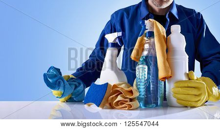 Cleaning Service Products And Uniformed Employee