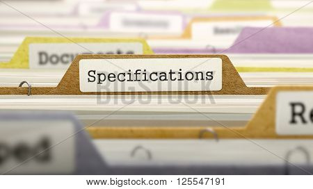 File Folder Labeled as Specifications in Multicolor Archive. Closeup View. Blurred Image. 3D Render.