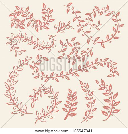 Set Of Leaves Vector On Pink Background Design Elements