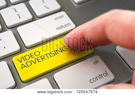 Computer User Presses Video Advertising Yellow Button. Close Up view of Male Hand Touching Video Advertising Computer Button. Hand Pushing Video Advertising Yellow White Keyboard Key. 3D Render.