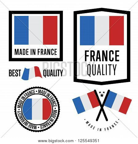 Made in France label set. Vector France flag. Symbol of quality. Manufacturing by France. Tags and sticker collection. Vintage and modern stamp.