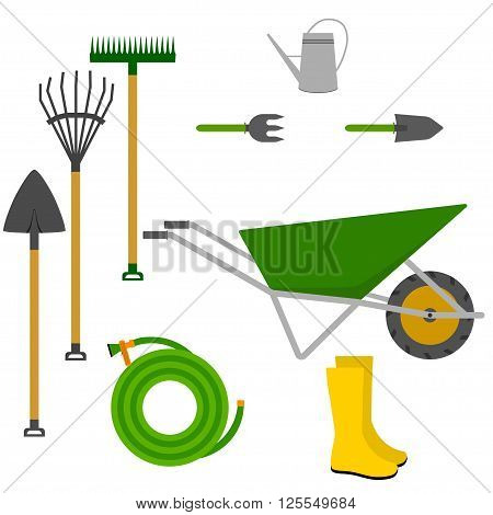 Garden tools vector icon. Garden tools set. Garden tools vector illustration isolated on white. Gardening tools vector illustration. Stock vector.