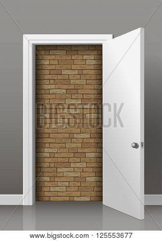 Brick wall of an open white door of the room. Lack of access, Deadlock