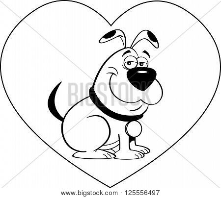 Black and white illustration of a dog with a heart background.